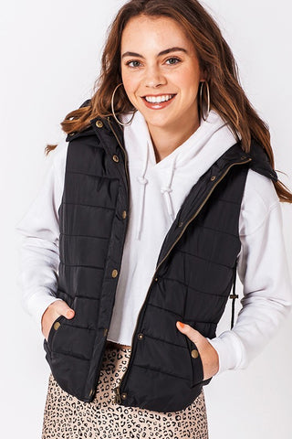 Bubble Button Hooded Vest
