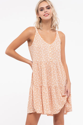 Ditsy Floral Camel Dress