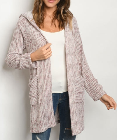 Burgundy Ivory Hooded Cardigan