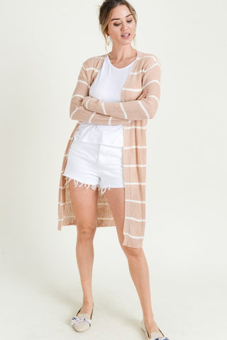 Ribbed Striped Cardigan