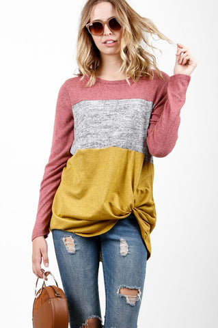 Color Block Knot Top