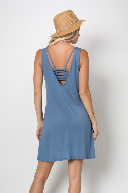 Blue Sleeveless Plunge back dress