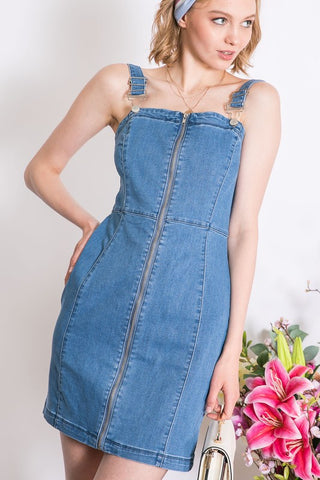 Denim Zip-Up Overall Dress