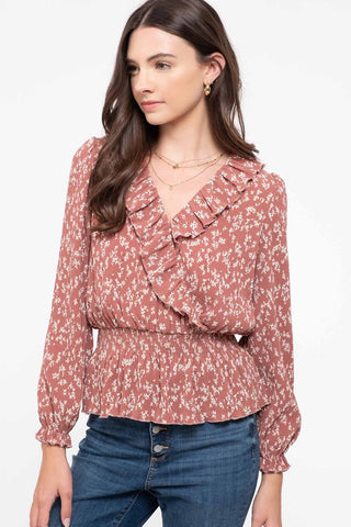 Dusty Rose Smocked Waist top