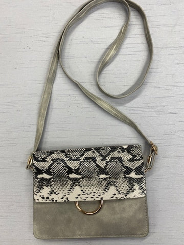 Grey Snakeskin Cross Body Purse