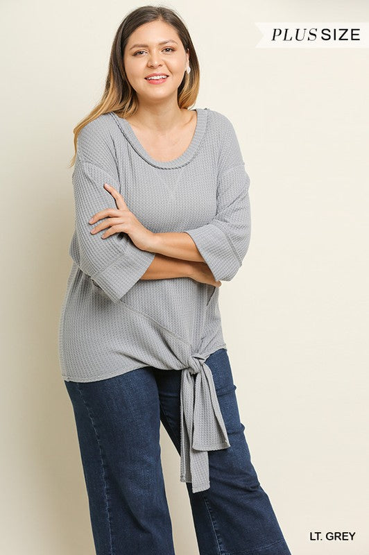 Plus Size 3/4 Sleeve Waffle Knit Round Neck Top