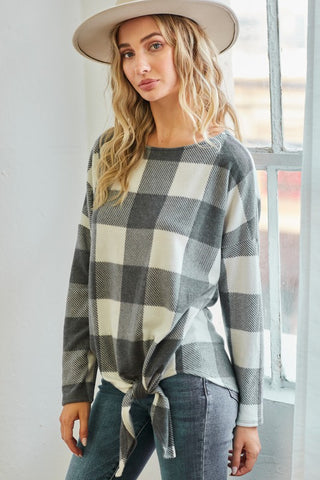 Plaid Knot Sweatshirt