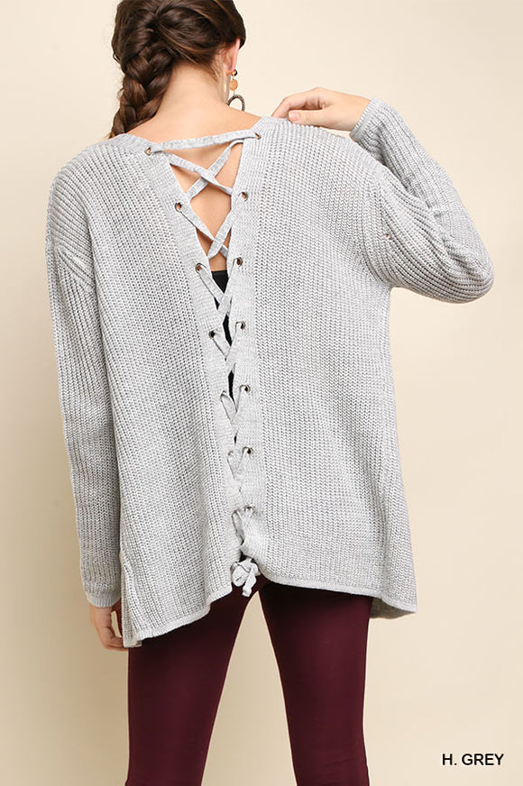 Lace Up Back Grey Cardigan