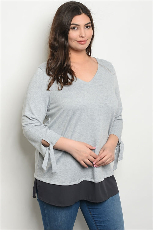 Heather/Charcoal Gray top