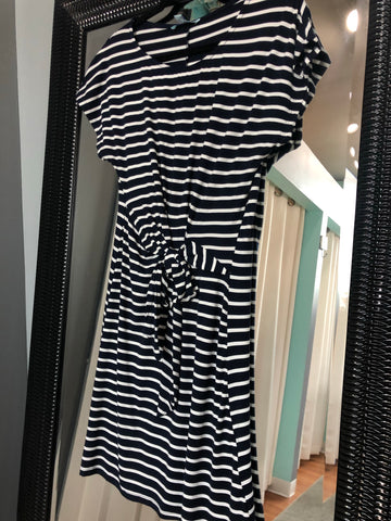 Striped Dress with Tie Accent