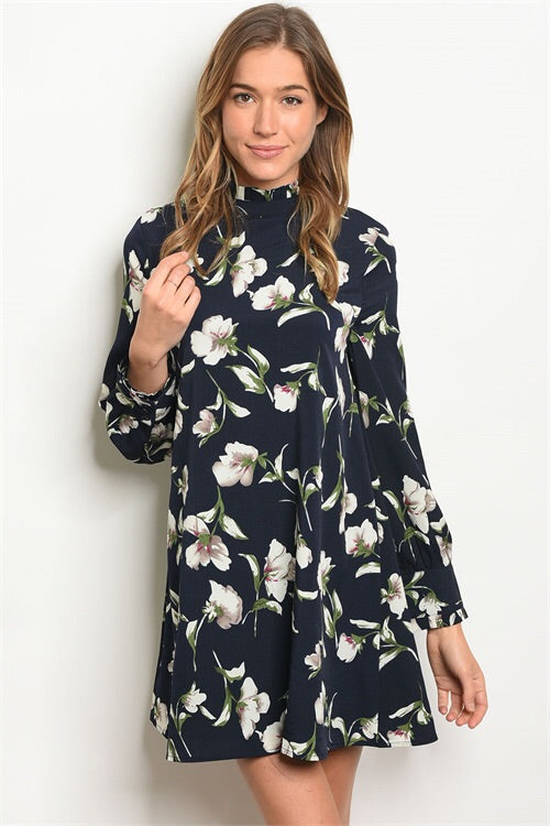 Navy Floral High Neck