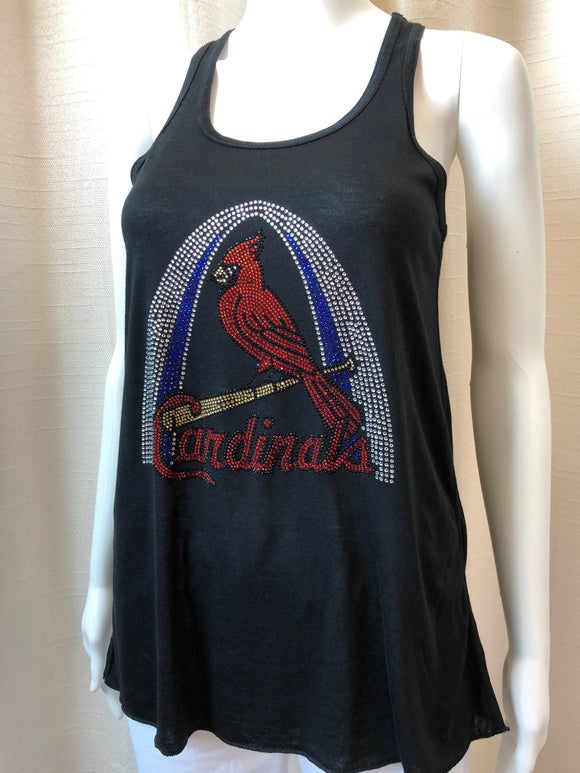 Black Bling Cardinals/Arch Tank