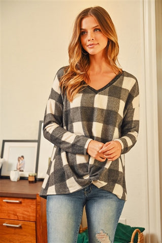 Plaid Knot Top