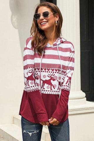 Reindeer Hooded Top