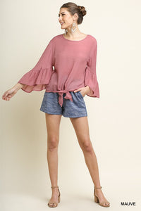 Sheer Ruffle Bell Sleeve Round Neck Top