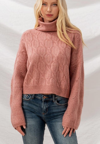 Mauve Cable Knit Turtle Neck
