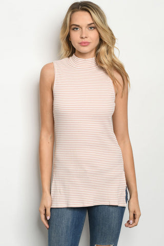 Mauve Mock Neck Tank
