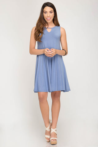 Misty Blue Shift Dress