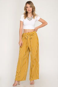 Mustard Wide Leg Stripe Pants