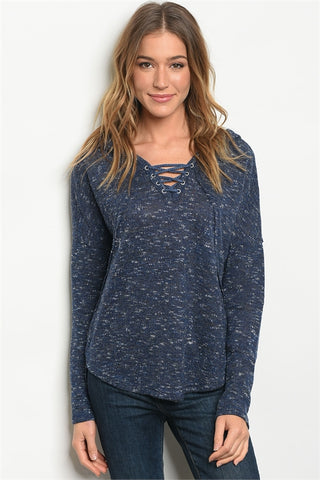 Navy Speckled Sweater