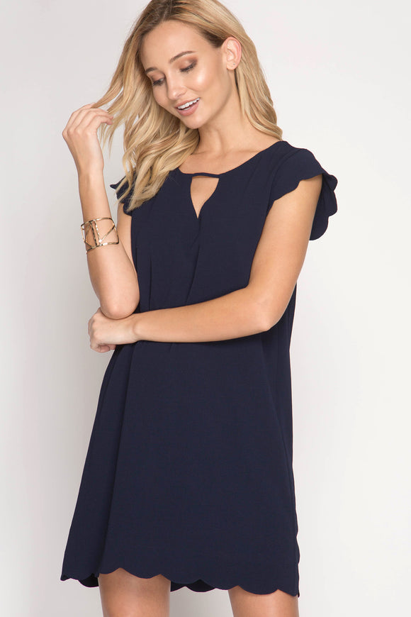 Navy Scalloped Dress