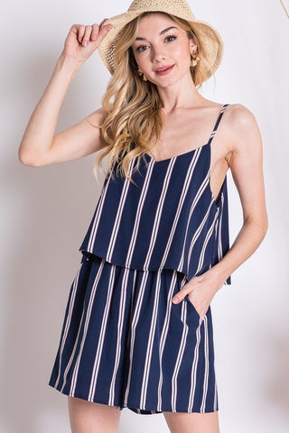 Navy Striped Romper