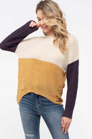 Oatmeal Color Block Crisscross Sweater