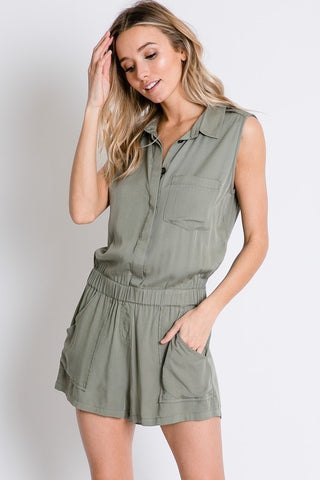 Button Down Sleeveless Romper