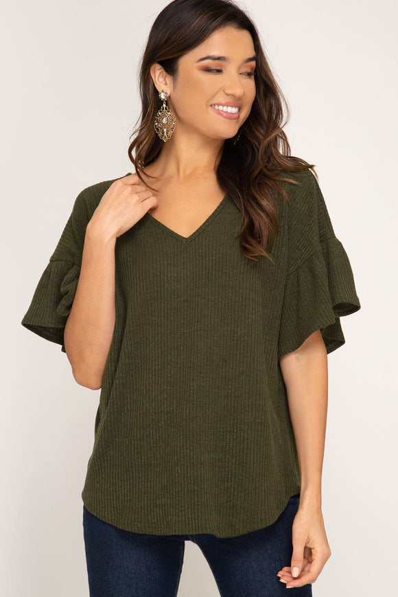 Olive Ruffle Sleeve Top