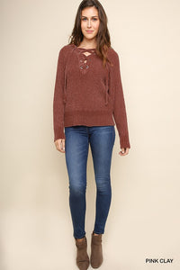 Ribbed Chenille Knit Pullover Sweater