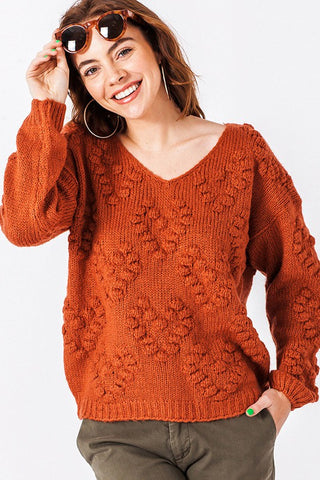 Rust Popcorn Vneck sweater