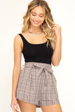 Plaid Paperbag Shorts
