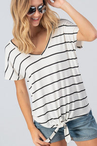 White/Black striped top