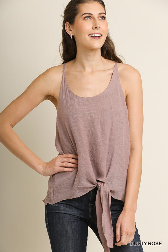 Dusty Rose Center Tie Tank Top
