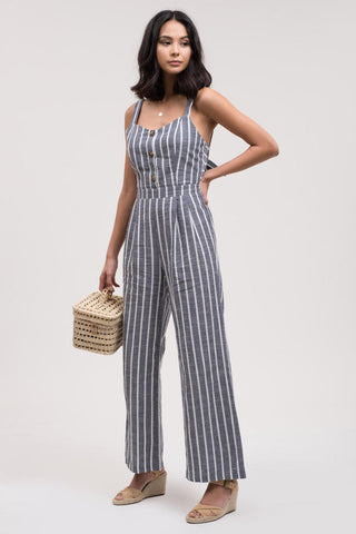 Stripe Jumpsuit with Back Tie Detail