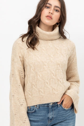 Cable Sweater with Wide Sleeves