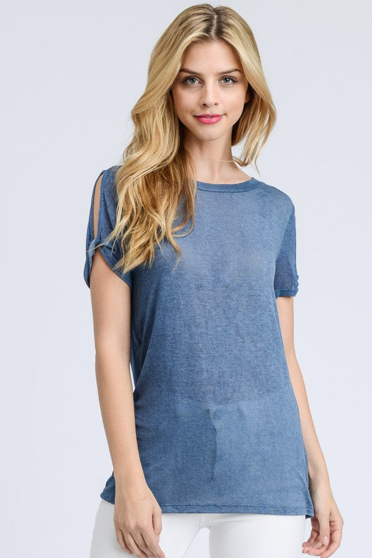 Washed denim colored twisted sleeve top