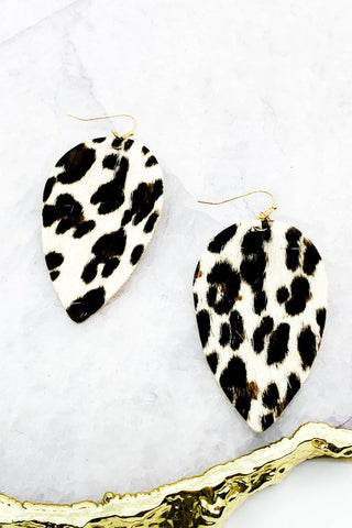 White Leopard Earrings