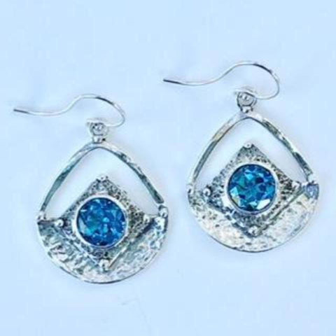 Handcrafted Silver Earings with Swiss Blue Topaz