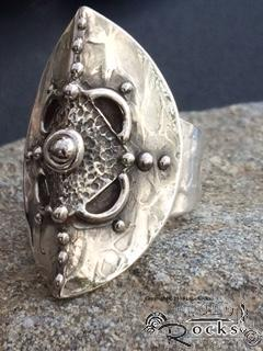 Handcrafted Silver Shield Ring