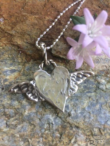 Handcrafted Winged Heart Silver Pendant