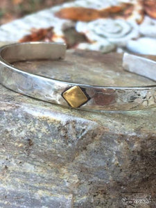 Handcrafted Cuff Style Sterling Silver Bracelet with 24kt. gold insert