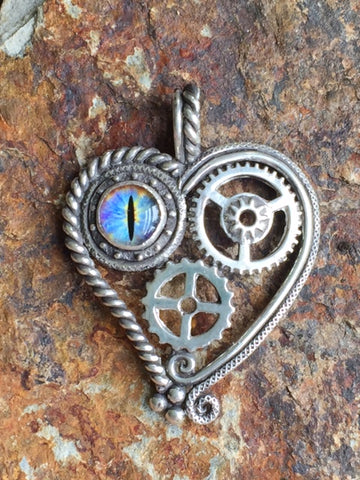 Handcrafted Steampunk Silver Heart Pendant