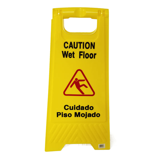 "Wet Floor/Caution Folding Sign, 24""x12"""