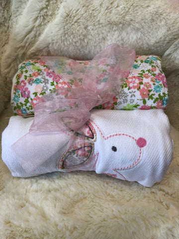 MC-Bunny Diaper Burp Cloth set