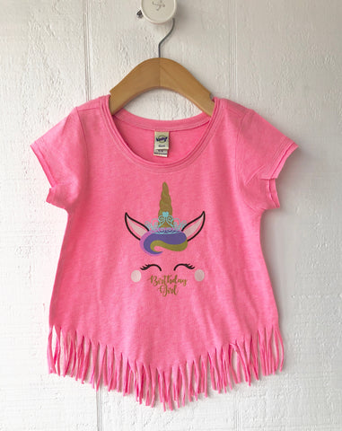 Birthday Girl Unicorn Fringe Shirt