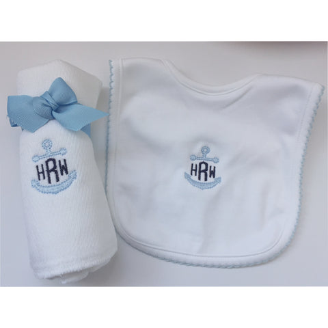 Bib and Burp Set with Anchor Monogram