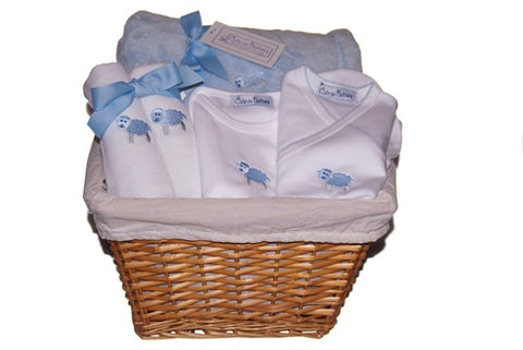 Baby Lamb Gift Basket in Blue