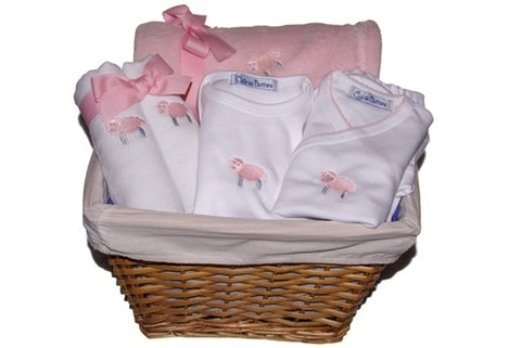 Baby Lamb Gift Basket in Pink