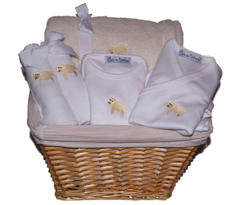 Baby Lamb Gift Basket in Yellow